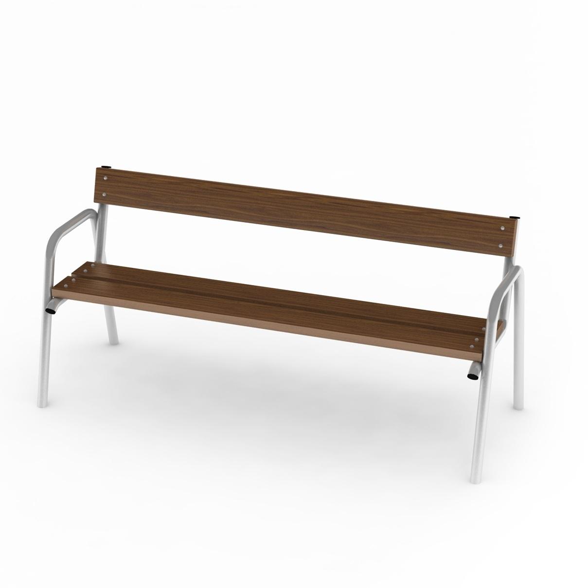 ławka z oparciem na plac zabaw